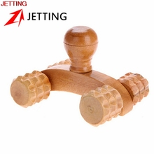 JETTING 1Pc Wooden Car Roller Solid Full body Four Wheel Relaxing Hand Massage Tool Reflexology Face Hand Foot Back Body Therapy(China)