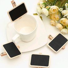 5pcs/lot Rectangle Wood Mini Blackboard Chalkboard Peg Clip Wedding Gift Card Favours Wedding party home decoration GYH