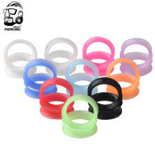 Silicone Flexible Thin Double Flared Flesh Tunnel Ear Plugs Ear Gauge Expander Stretcher Body Piercing Jewelry
