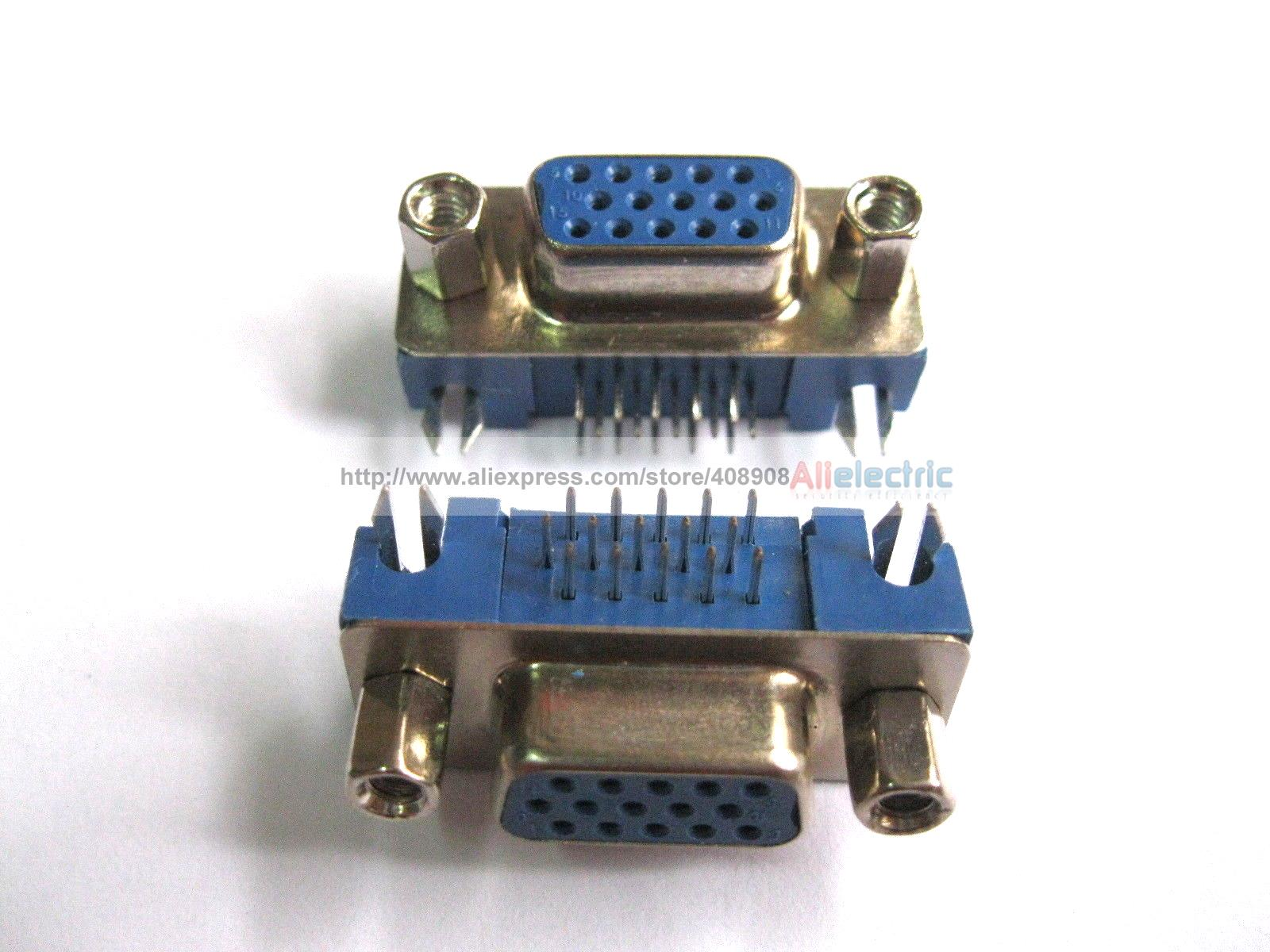 30 Pcs D Sub 15 Pin Female Connector Right Angle 3 Row Short Blue <br>