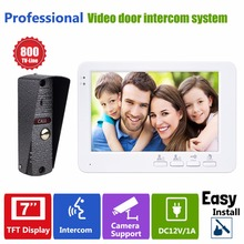 "7"" TFT 800TVL Door Monitor Door Intercom Video Dual-way Intercom Home Doorbell System F1380B"