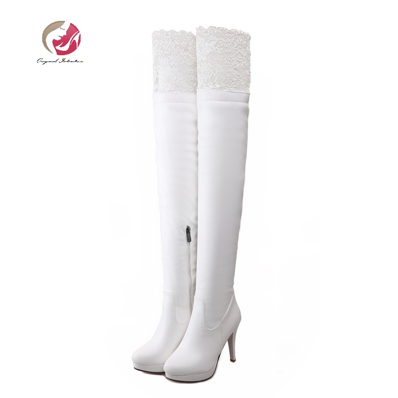 Original Intention Women Boots Sexy Thigh High Boots Platform Thin Heels Shoes Woman Over the Knee Boots White Black<br>