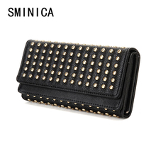 rivet Brand Wallet For Women Wallets Feminina Card Purse punk Female gifts for Women's Money Bag girls wallet S02214(China)