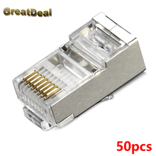 50pcs 8Pin RJ45 Connector 8P8C RJ45 Plug Cat 5 5e Cat6 Shielded Network Connector Terminals for STP Ethernet Cable HY1526/7