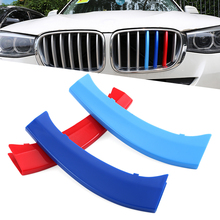 3 colors 3D styling M Front Grille Grills Trim Strips Cover performance Decoration Stickers for 2011 to 2017 BMW X3 X4 F25 F26