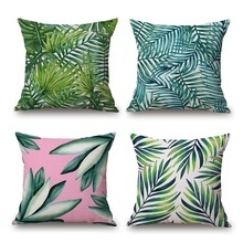 Palm Leaf Cushion Cover 20 Style Green Tropical Leaves Good for Eye Protection Pillow Case Thick Linen Cotton Bedroom Decoration