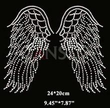 4pcs/lot Shiny angel wings pattern hotfix rhinestones Heat transfer design iron on motifs patches Rhinestone applique(ss-1934)(China)