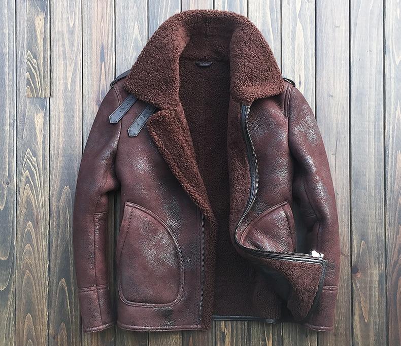 2017 fashion men's airforce pilot coat genuine sheepskin leather shearling wool motorcycle jackets brown black 2xl 3xl 4xl 5xl