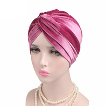 Women Luxury Soft Velvet ruffle Turban Velour Hair Cover Ladies Headwrap Hijab Hat Stretch Velvet Turban Cross(China)
