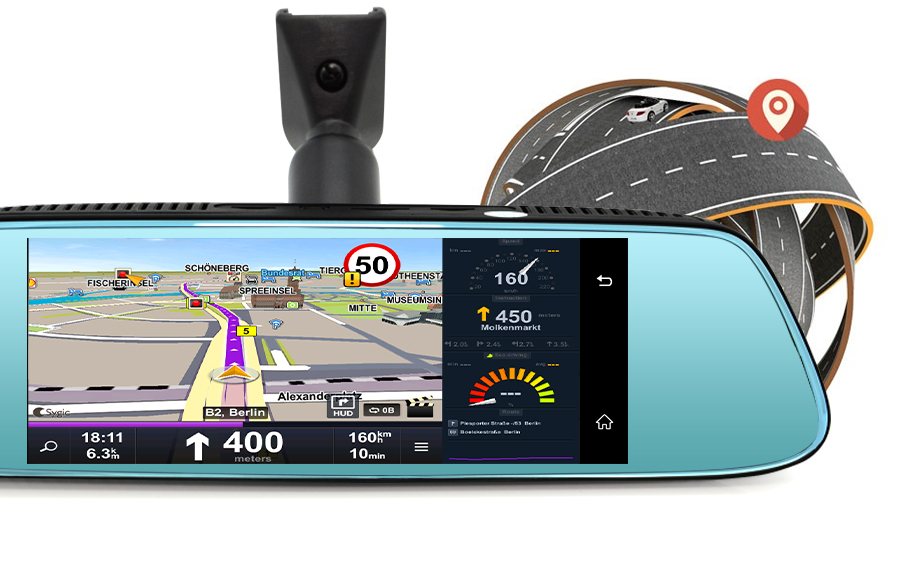 """Junsun 8"""" 4G Newest Mirror Car DVR Camera Android 5.1 with GPS DVRs Automobile Video Recorder Rearview Mirror Camera Dash Cam 19"""