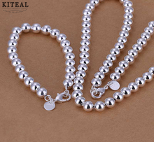 High Quality silver jewelry set 8MM beads Necklace&Bracelet Sets for women jewerly accessories SMTS081