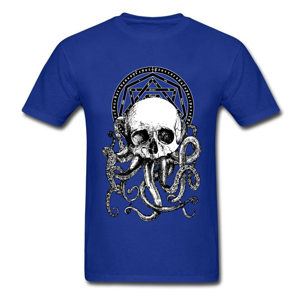 Pieces of Cthulhu Family Adult T Shirt O Neck Short Sleeve Pure Cotton Tops Shirts Geek T Shirt Wholesale Pieces of Cthulhu blue