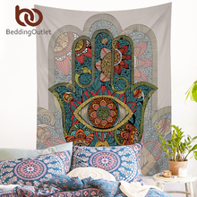 BeddingOutlet Hamsa Hand Tapestry Indian Mandala Floral Wall Hanging Tapestry for Home Psychedelic Bedspread Art Carpet 2 Sizes(China)