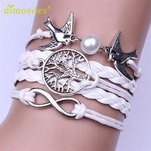 Diomedes Gussy Life wholesale Infinity Handmade Adjustable Pigeon Leather Multilayer Bracelet Wristband Jan17