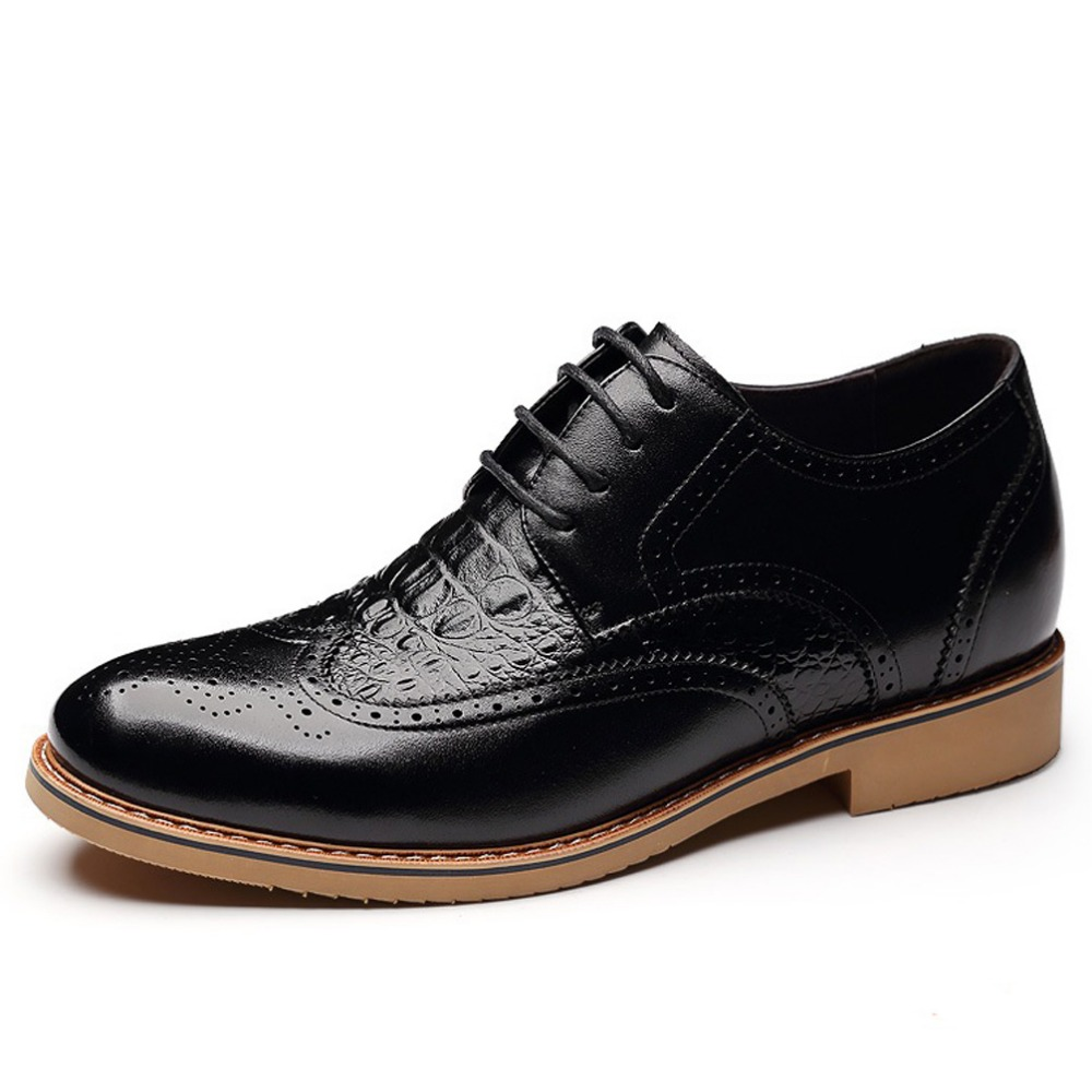 Elevated Shoes Calf Leather Brogue Shoes Man Business Formal Elevator Derby Shoes with Hidden Insoles Grow Wedding Taller 7cm<br><br>Aliexpress
