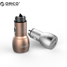 ORICO UCM-2U Aluminum 2 Ports USB Car Charger as Safety Hammer 5V2.4 MAX Output 15.5W Mini Portable USB Travel Charger