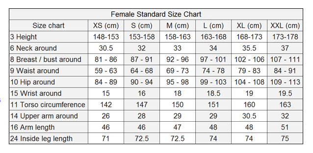 Catsuit Size Chart Female