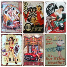 Sexy Girl Poker Metal Tin Sign Hotel/Cafe /Bar Wall Decor Metal Sign Vintage Home Decor Metal Plaque Retro Painting Metal Plate