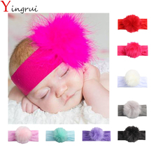 Newborn Photography Props Soft Faux Rabbit Fur Pom Pom Headband Cute Winter Hairband Children Headwear For 0-6 Months Baby Girls(China)