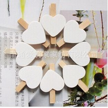 100Pcs/Lot Free Shipping Cute Wooden Mini white Heart Shape Clip Photo paper postcard Clips pegs Wedding Party Decoration 30mm(China)