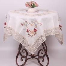 Pastoral Floral Embroidery Tablecloth to Table / White ZAKKA Linen Cotton Lace Table Cloth / Home Dustproof TV Fridge Cover
