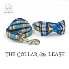 blue stripe  collar and leash set with bow tie   dog &cat necklace and dog leash  for pet gift