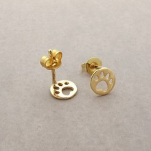 Daisies Stude Earrings Dog Paw Earrings Print Dye Cut Coin Shaped Animal Earrings For Women 30pcs/lot