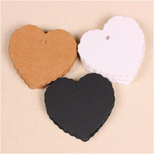 300pcs 6*5.5cm garment accessories blank heart design 3 colors art paper hang tag, zakka bread/coffee brand tags/cards(China)