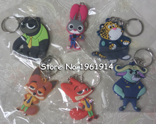 Keychain zootopia figures pvc Crazy Animal City pendant creative couple key chain 1pcs smart phone rings free shipping(China)