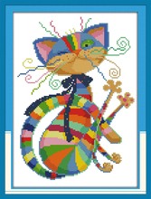 Colorful cat Counted Cross Stitch Diy 11CT 14CT Cross Stitch Set Wholesale Cross-stitch Kits Embroidery Needlework WF549