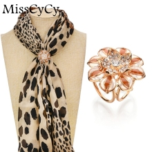 MissCyCy Gold Color Jewelry Fashion Camellia Rhinestone Brooches For Women Crystal Tricyclic Scarf Clip
