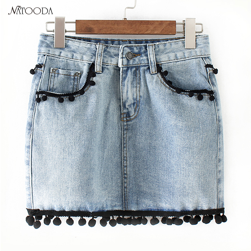 NATOODA Fashion Sweet Tassels Denim Skirt Women Vintage Pockets Faldas European Style Ladies A-Line Chic Mini Skirt Saia XY3171