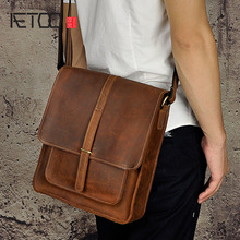 AETOO Crazy horse leather leather Europe and the United States retro men 's 10 - inch Tablet PC shoulder diagonal package