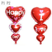 I Love You and Happy Day Heart Engagement Anniversary Balloons Weddings Valentine Balloons Party Decoration(China)