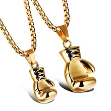 Couple Biker Boxing Gloves Design Pendant Necklace+square Box Chain Stainless Steel Gold Colour Jewelry Alibaba Express Shipping(China)