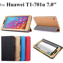 2015 NEW T1-701u flip leather case For Huawei Mediapad T1 7.0 Tablet Cover For huawei mediapad t1 7.0 t1-701w t1-701u cases(China)