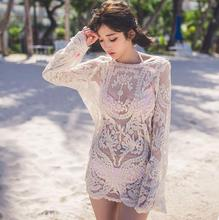 Bohemian Style Crocheted Flower Transparent Lace Long Sleeve Loose Blouse Bikini Outer Beach Top Women Summer Tops Free Shipping