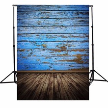 3X5FT Vintage Wood Floor Photography Background Retro Blue Board Photographic Backdrops For Studio Photo Props cloth 90 x 150cm(China)