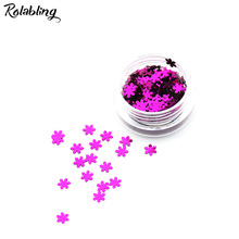 Rolabling 1PC/BOX Purple Red Snow Flake Design Nail Glitter Powder Dust 3D Manicure Design UV Gel Polish DIY Nail Accessories