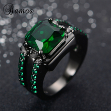 Bamos Male Green Oval Ring High Quality Fashion Black Gold Filled Jewelry Vintage Wedding Rings For Men 2017 New Year Gifts(China)