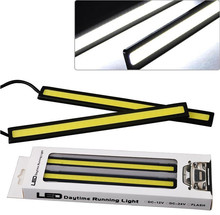 1 pair 12V strip light bar COB LED 17cm Driving DRL long narrow piece Front Fog Lamp Xenon white with self sticker