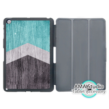 Mint Green Arrow On Wood Print Smart Cover Case For Apple iPad Mini 1 2 3 4 Air Pro 9.7