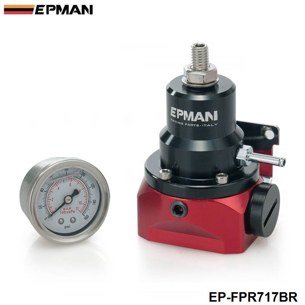 EPMAN-AN10 Fuel Pressure Regulator Purple (With 160psi Gauge /No with) AN10 Inlet & Return Ports For BMW E30 M20 6cy EP-FPR717BR
