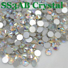 ss3 (1.3-1.4mm) Crystal AB Decorations Stone for Nail Art, 1440pcs/Pack, Flat Back Non Hotfix Glue on Nail Art Rhinestones(China)