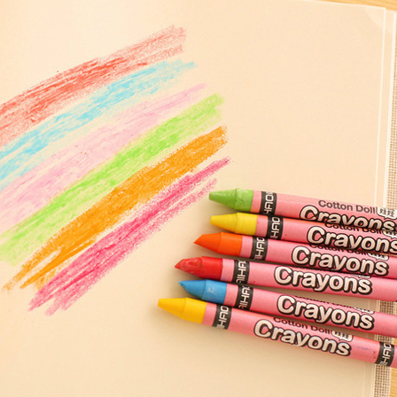 Crayons Creative Cartoon 8/12/24 Colors Drawing Non-Toxic Oil Pastels Kids Student Pastel Pencils Art Supplies