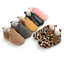 WONBO Winter 2017 Small PU Leather Baby Ankle Boots with Plush Fashon Leopard Infant Toddler Shoes Baby Moccasins