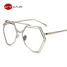 961667808c UVLAIK Vintage Flat Top Polygon Oversized Glasses Clear Lens Men Women  Fashion Gold Metal Frame UV400 Eyeglasses