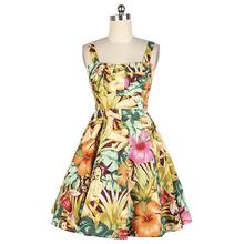 2016 Girl Summer 50s 60s Vintage Dresses Hawaiian Girl Floral High Waist Retro 50s 60s Spaghetti Strap Dress Vestido de Festa WO