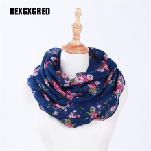 Hot Sale New Fashion Warm Women Flower Loop Scarf Female Small Rose Print Ring Scarves Infinity Shawl Wrap(China)