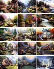 15pcs spring summer autumn winter seasons house lanscape Canvas Paintings Wall Art Decor Unframed Photo Room Modular Picture